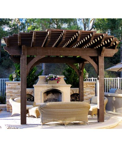 solid wood radius roof timber frame pergola outdoor fireplaace