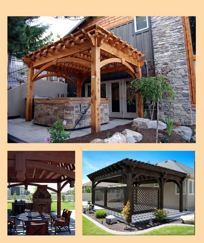 timber framed shade structure