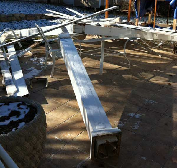 aluminum pergola blown down in wind
