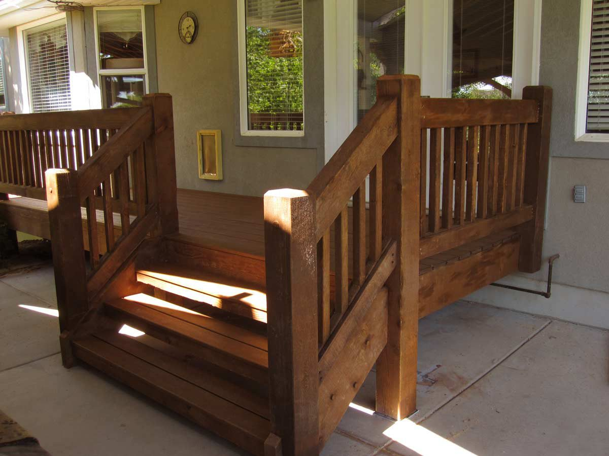 Timber frame porch deck front porch american for Deck stairs pictures
