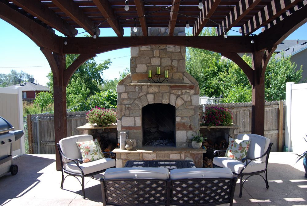 add element of fire with outdoor fireplace diy pergola