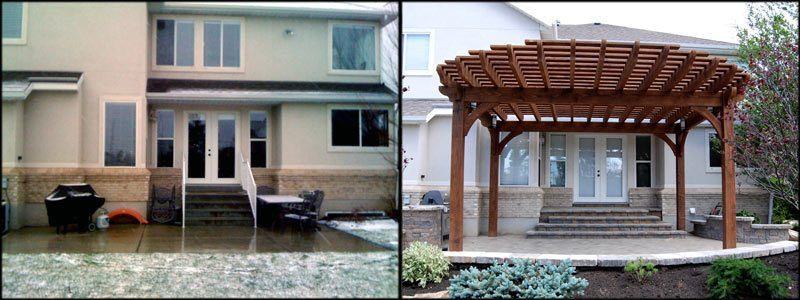 before after timber frame pergola over patio