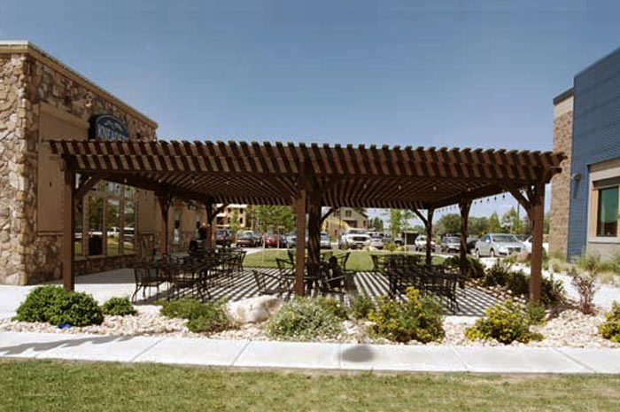 commercial eating area pergola shade