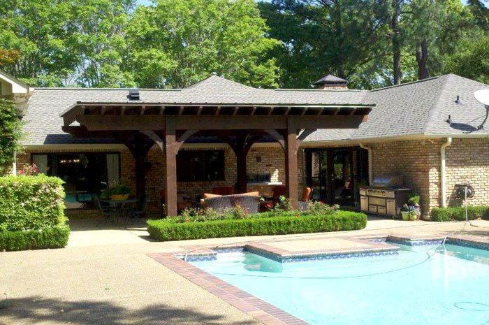 pool side dovetail pavilion shade patio
