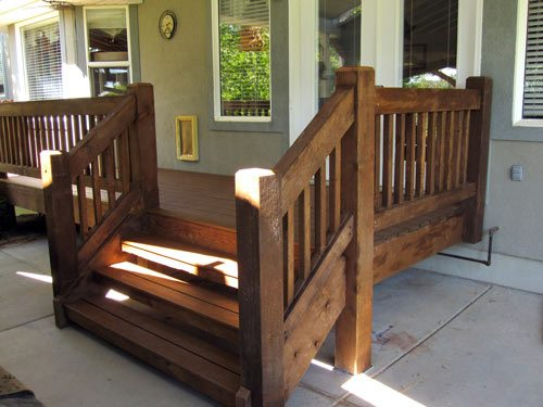 solid wood dovetail timber framed stairway deck