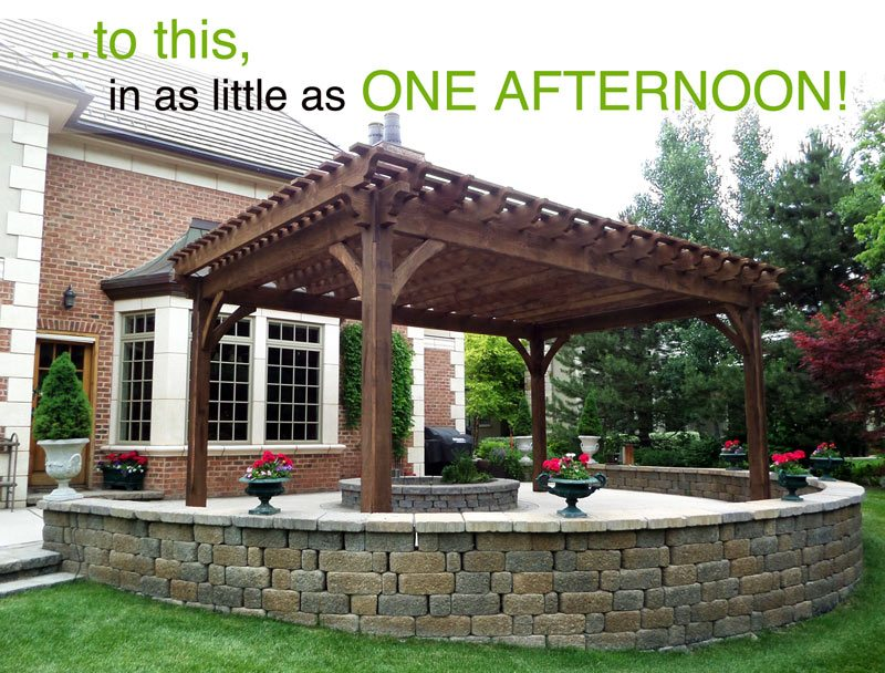 after installation dovetail timber frame pergola kit
