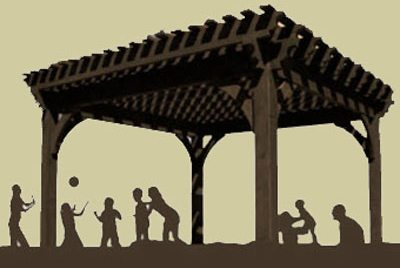 silhouette pergola with families