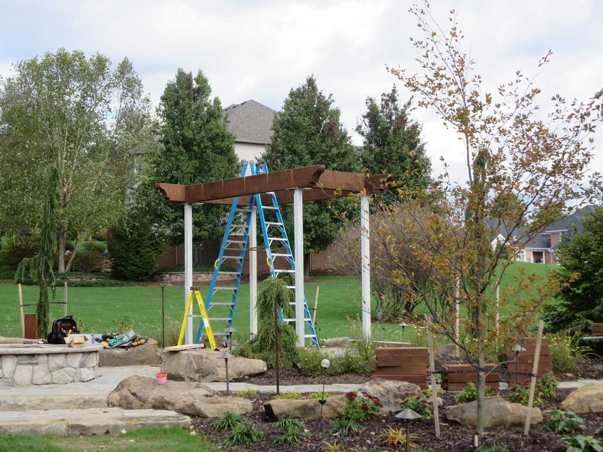 assembly installation of a garden diy arbor kit swing western timber frame
