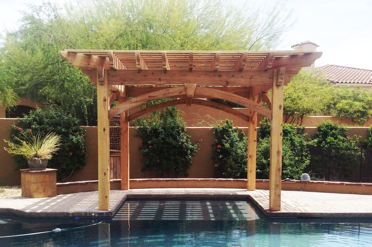 timber frame poolside pergola