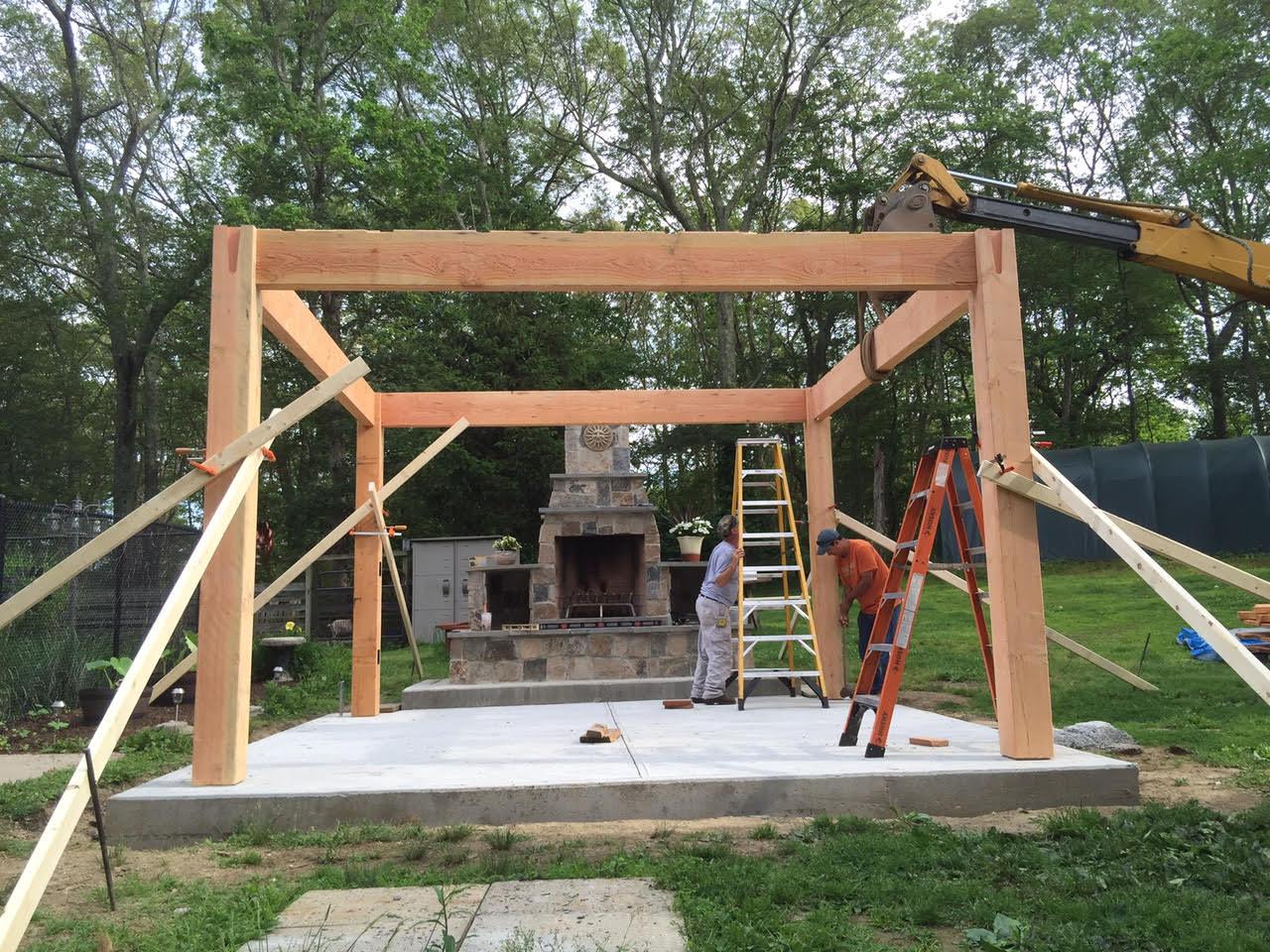 Before after diy pergola kit for rhode island fireplace for Metal frame pergola designs