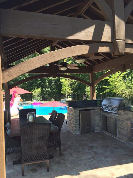 Http Www Westerntimberframe Com Wooden Timber Pergolas Perfect Poolside Pavilion Kit Over Outdoor Kitchen