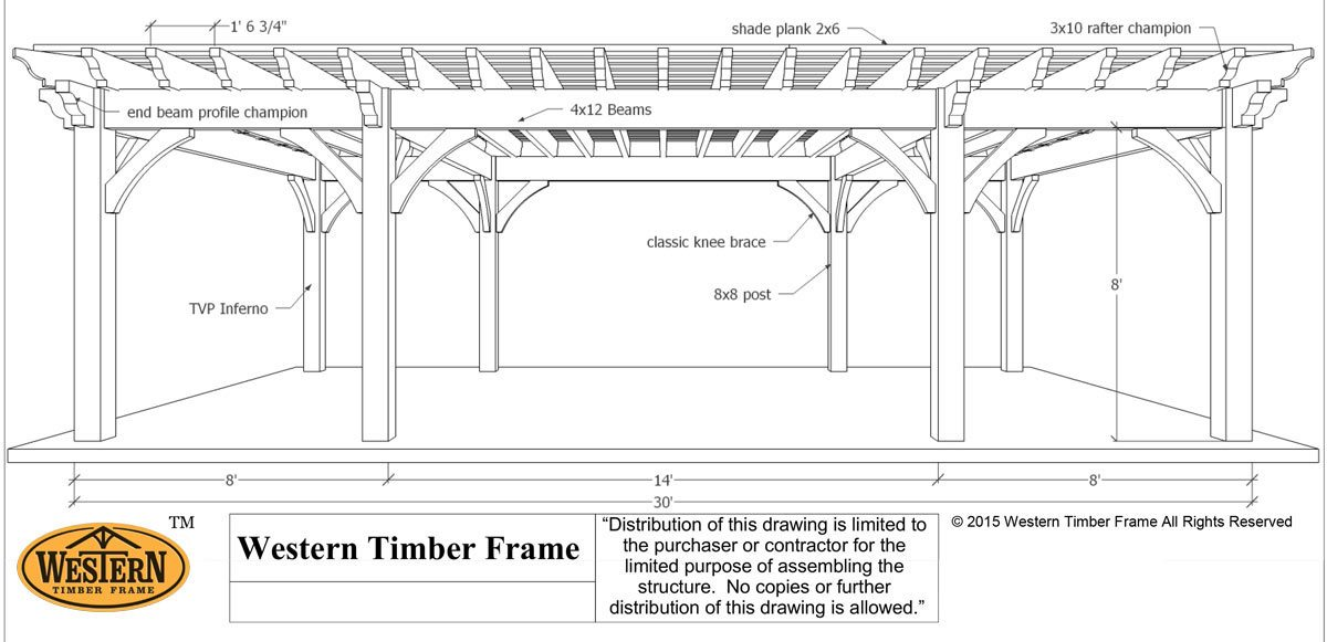 Plan for a 16 39 x 32 39 oversize timber frame diy pergola for Parts of a pergola