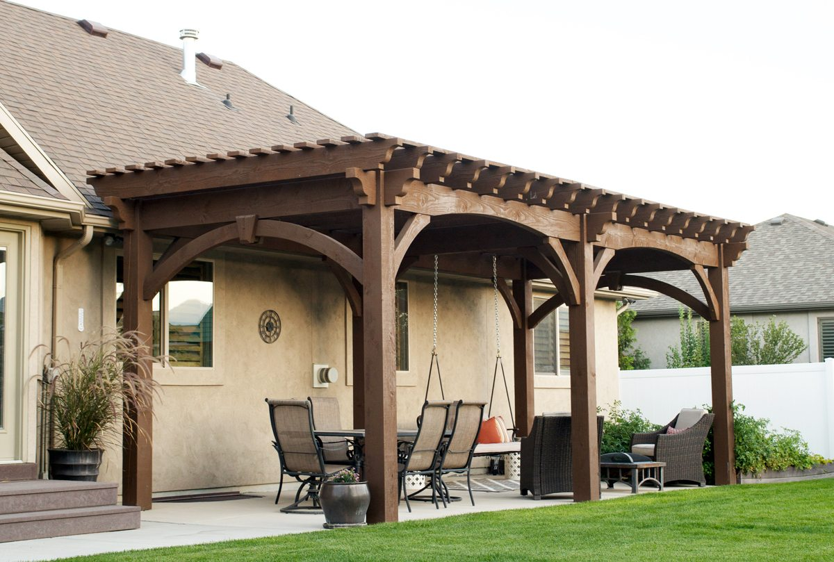 Early american backyard daily holiday getaway western timber frame - Pergola profil systeme ...