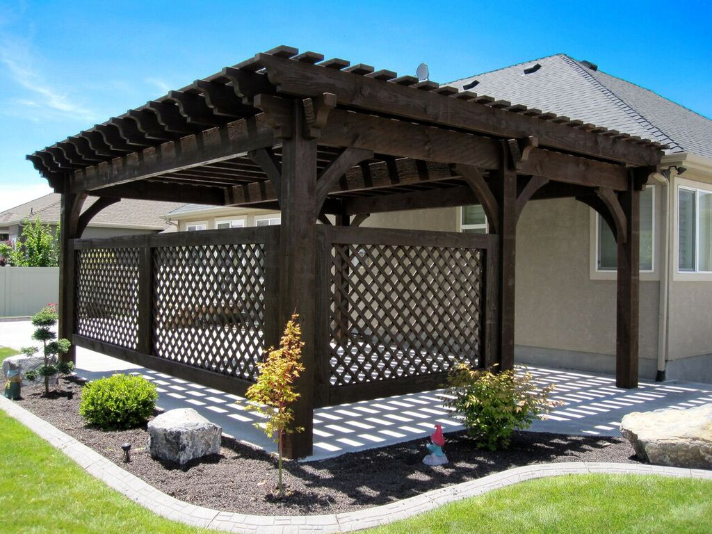 Covered Patio 5 Post 20 X 20 Diy Pergola Kit W Lattice