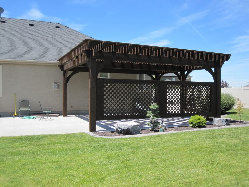 covered patio 5 post 20 39 x 20 39 diy pergola kit w lattice