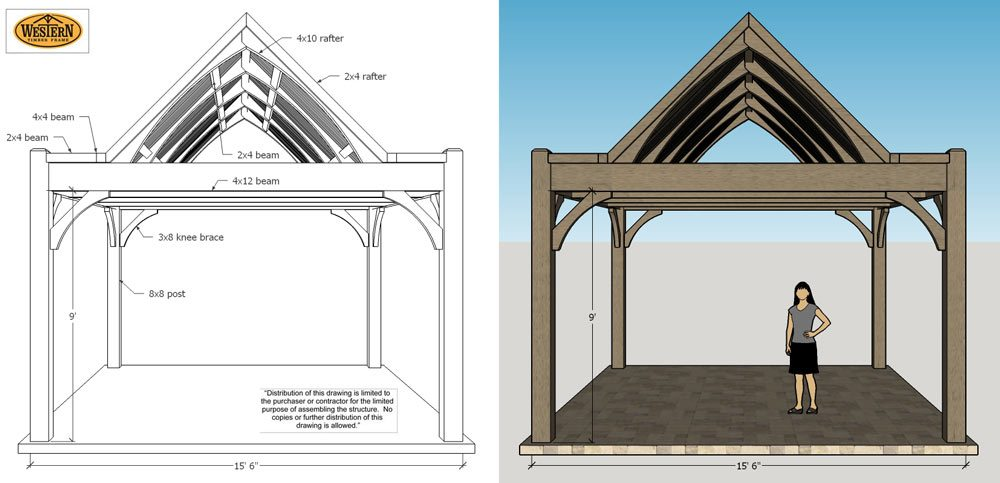 Timber frame pavilion plan schematic