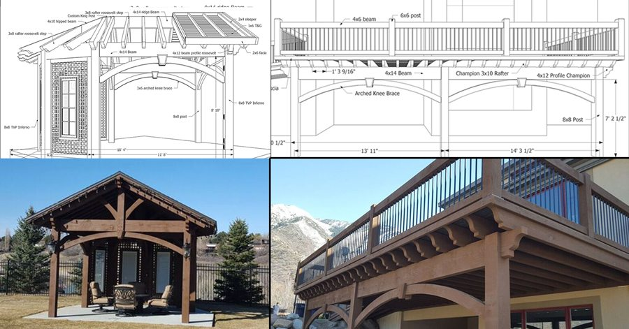 schematic plans deck pavilion gazebo