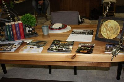 Suspended table magazines home show