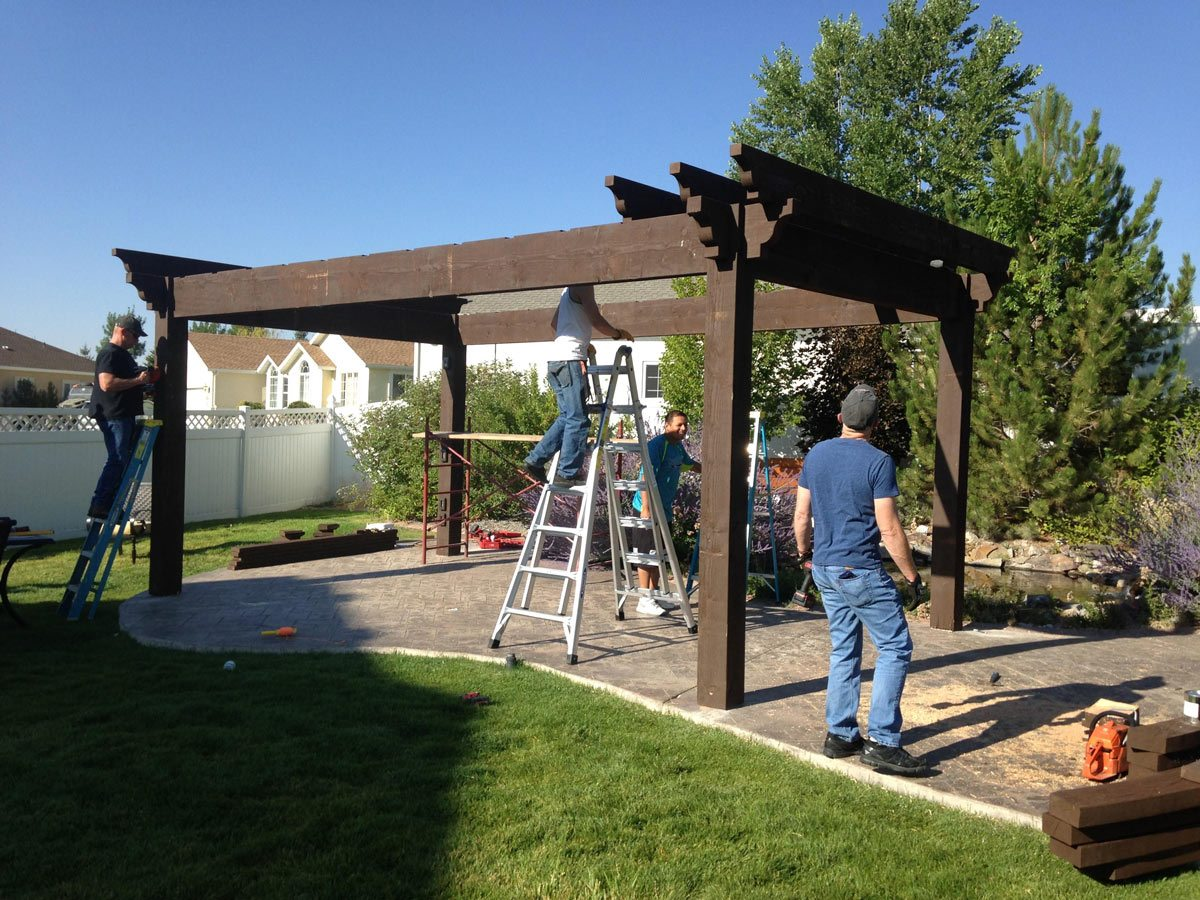 Diy Pergola Kits : Diy pergola kit backyard bed dining w privacy curtains