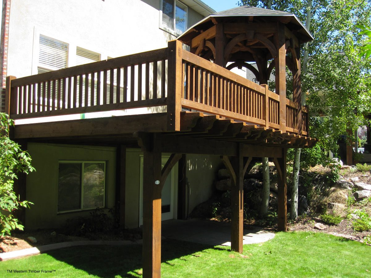 17 decks w early american old world timber work for Deck with gazebo