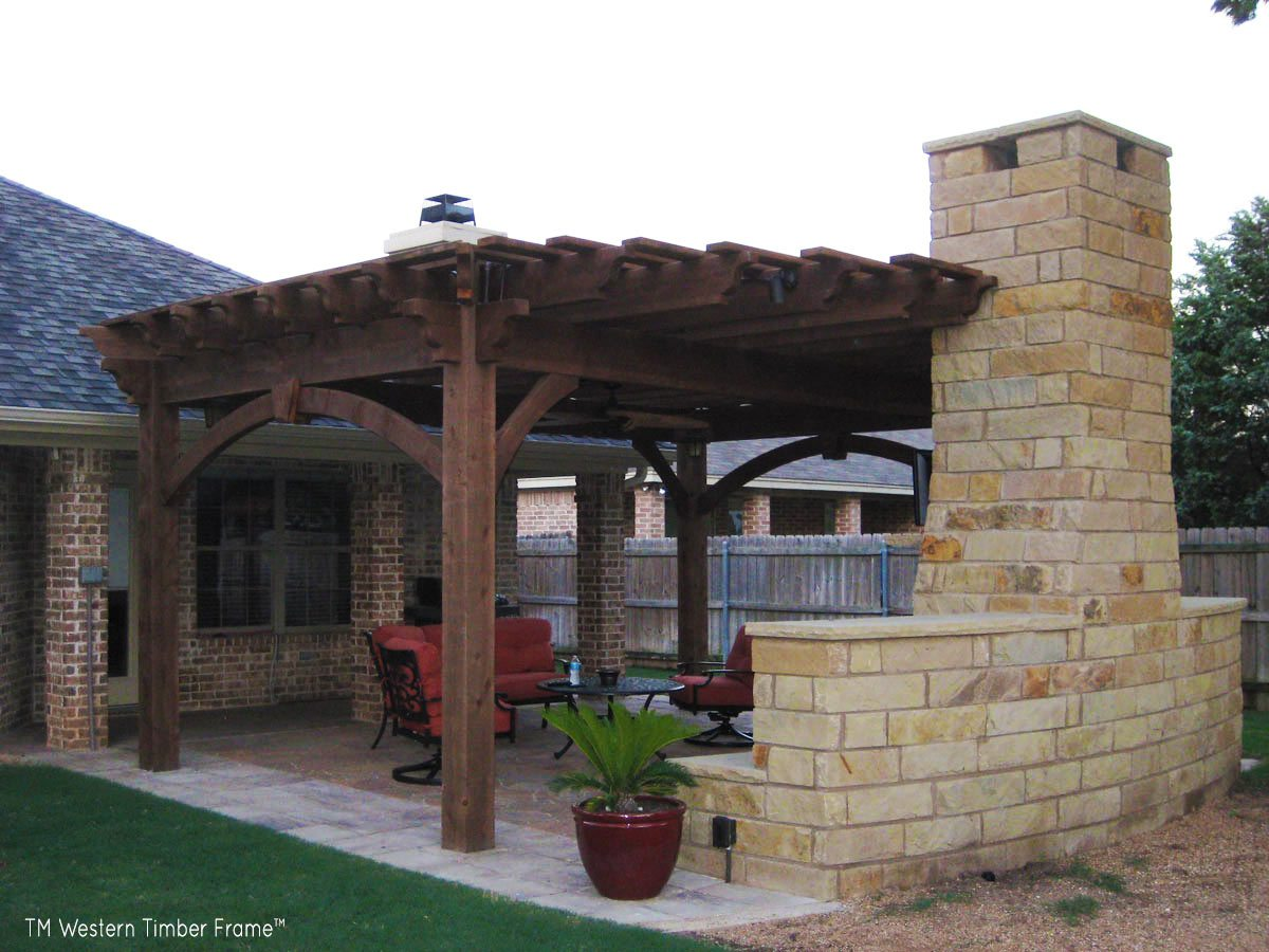 9 fun outdoor tv theater living areas western timber frame - Outdoor gazebo plans with fireplace ...