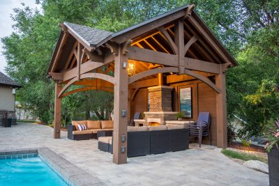 timber frame poolside pavilion