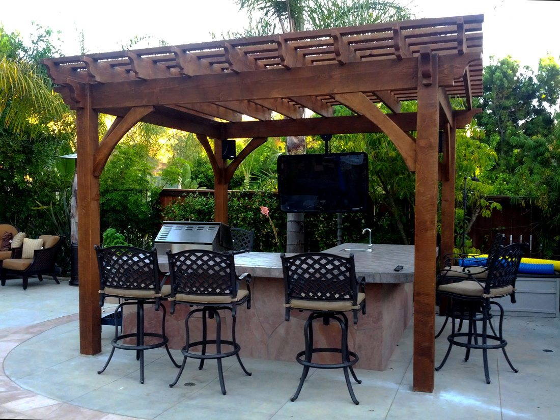 Pergola Backyard America : Clausing Pergola witih an outdoor TV and speakers  Western Timber
