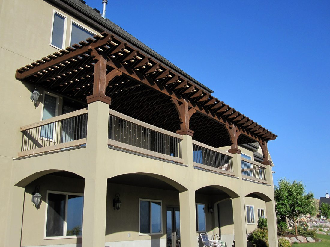 hilton attached to balcony oversized 12x40 pergola western timber frame. Black Bedroom Furniture Sets. Home Design Ideas