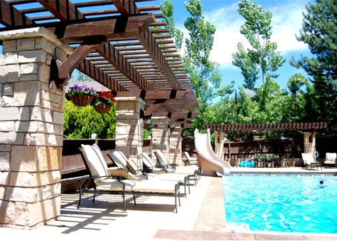 timber frame awning swimming pool shade