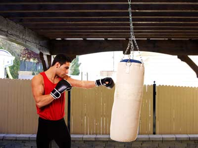 how to build a punching bag stand out of wood