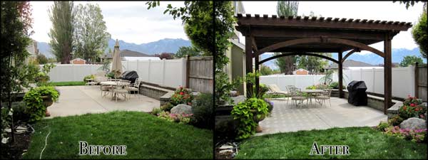 before and after pergola installation