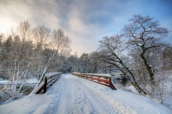 wood snow covered bridge
