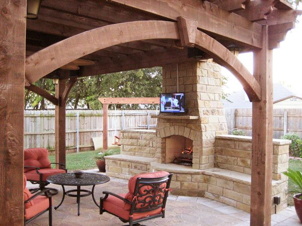 shade pergola tv television fireplace