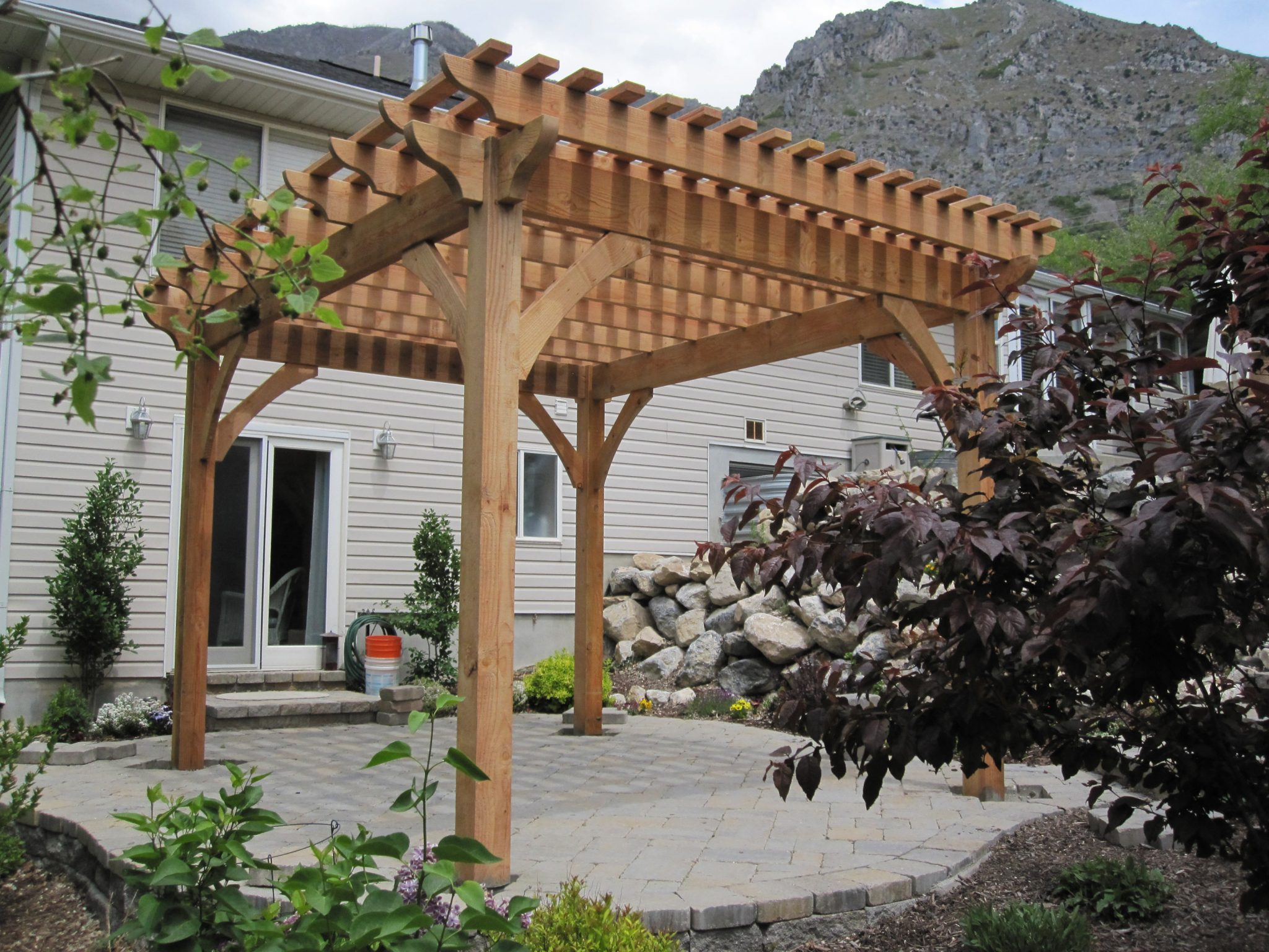 Adding Shade With a Natural Finish Timber Frame Pergola ...