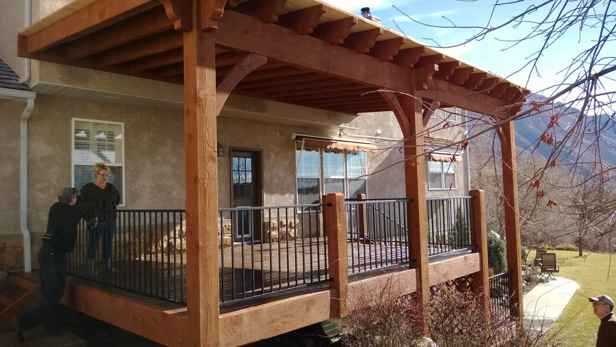 14x30 Attached Timber Frame Pergola Over A Timber Frame