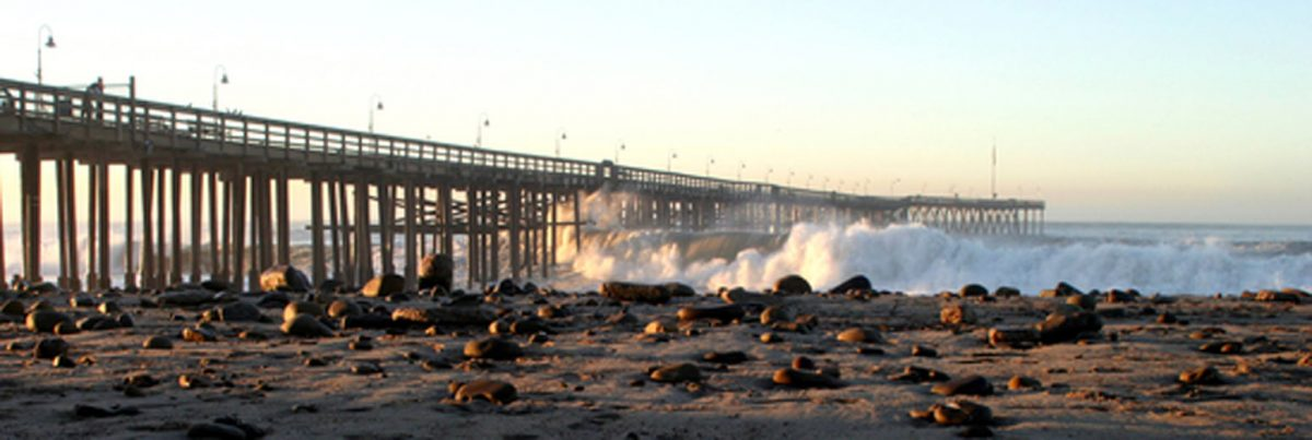 timber bridge with piers in wind storm