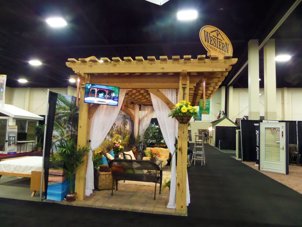 Fall Home Show Timber Frame Pergola Hawaiian Style Vacation Backdrop Western Timber Frame