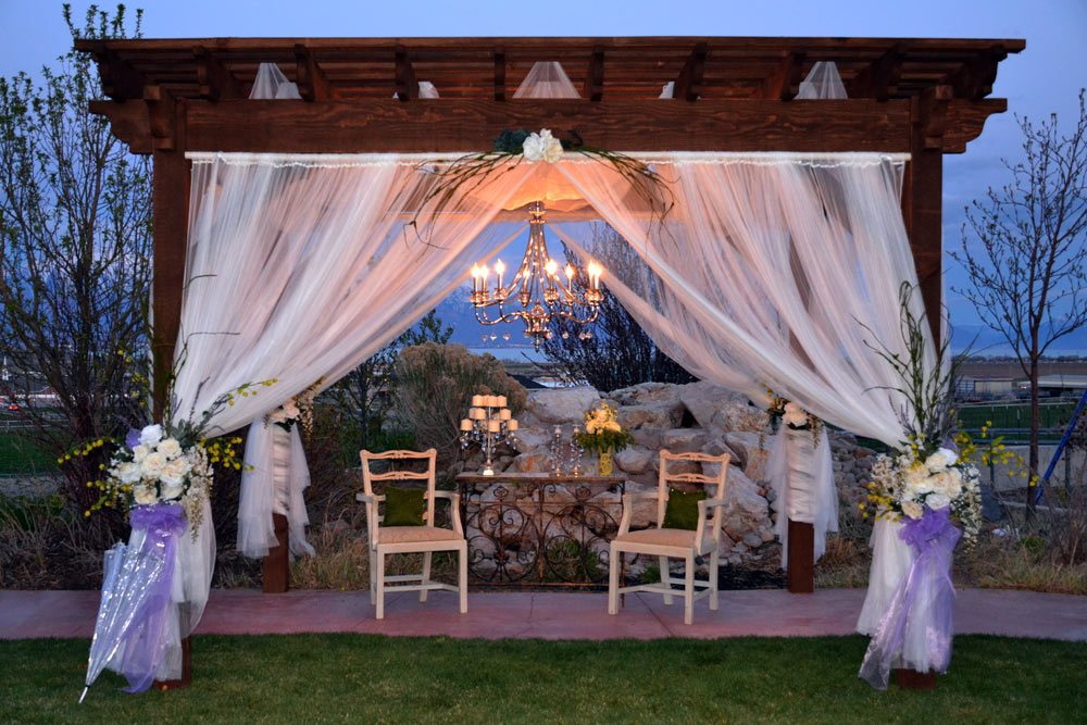 wedding pergola with chandelier