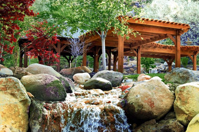 timber framed pergola waterfall