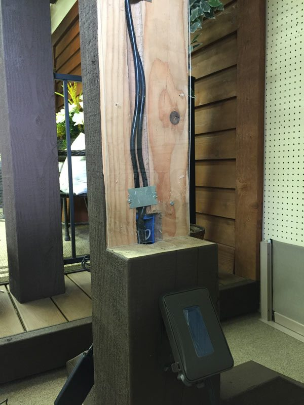 interior post drilled for power