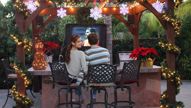 outdoor tv bar timber frame pergola chirstmas decor