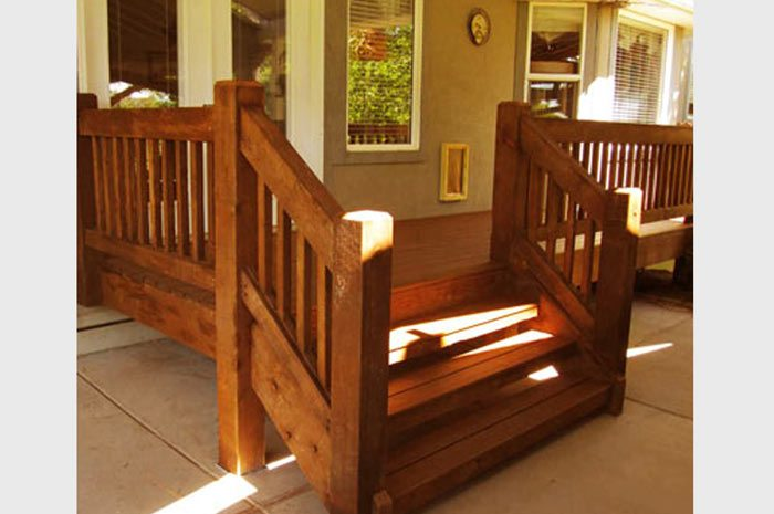 dovetailed timber frame stairway