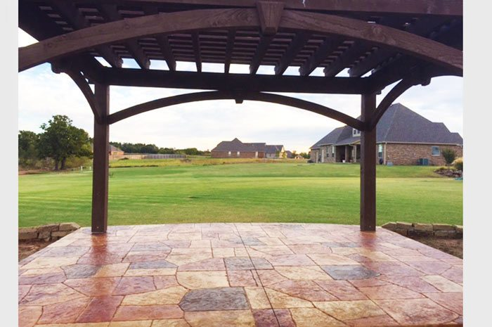 solid wood timber frame arched pergola