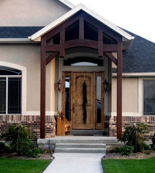 timber frame covered pavilion entryway