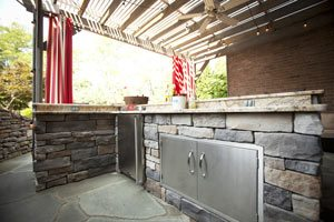outdoor kitchen fridge louvered roof pergola