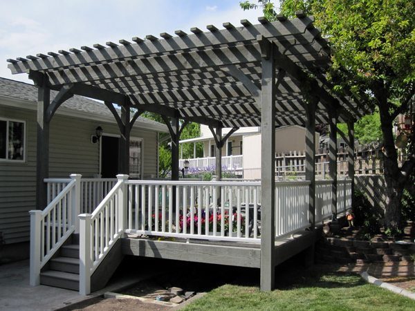 canyon grey gray solid wood deck timber pergola