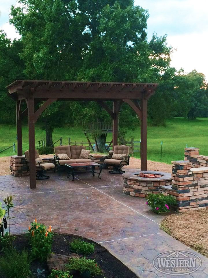brick fire pit shade pergola patio - 55 Best Backyard Retreats With Fire Pits, Chimineas, Fire Pots