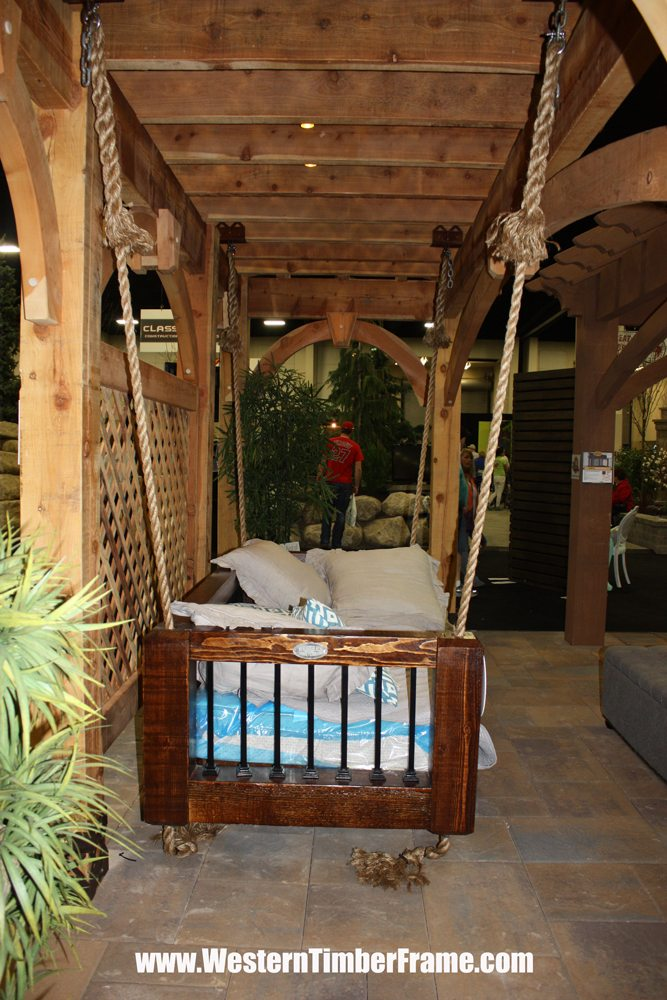 hanging solid wood bed and pergola