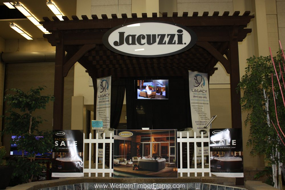 timber frame solid wood pergola over hot tub jacuzzi