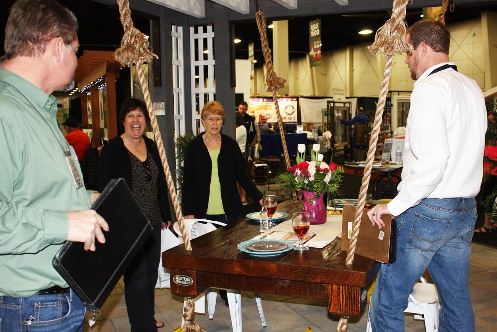 timber frame suspended table huge hit at show